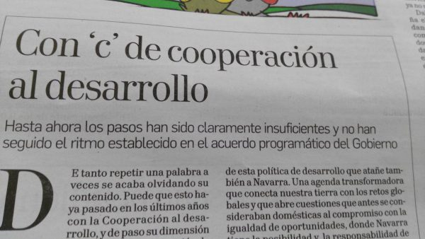 Con `c´de Cooperación. Artículo de la Coordinadora en la prensa