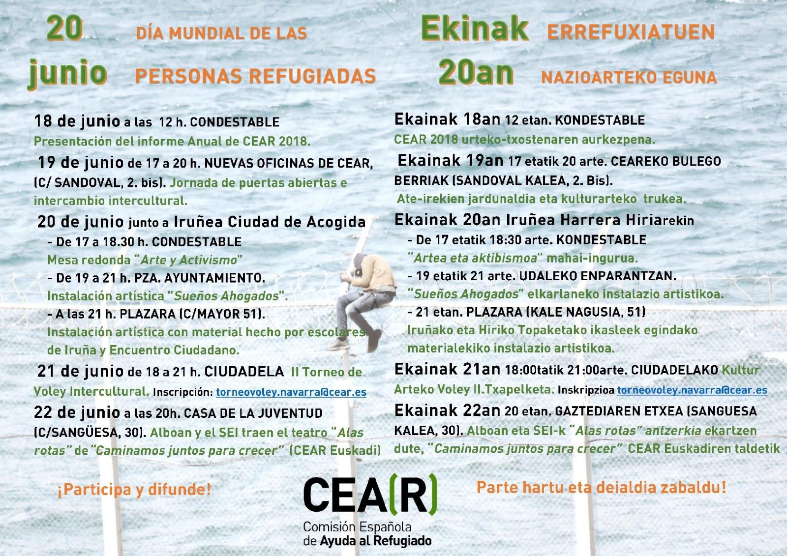 20 de Junio. Día de las personas refugiadas/ Ekinak 20 an  Errefuxiatuen Nazioarteko Eguna (CEAR) @ Varios lugares