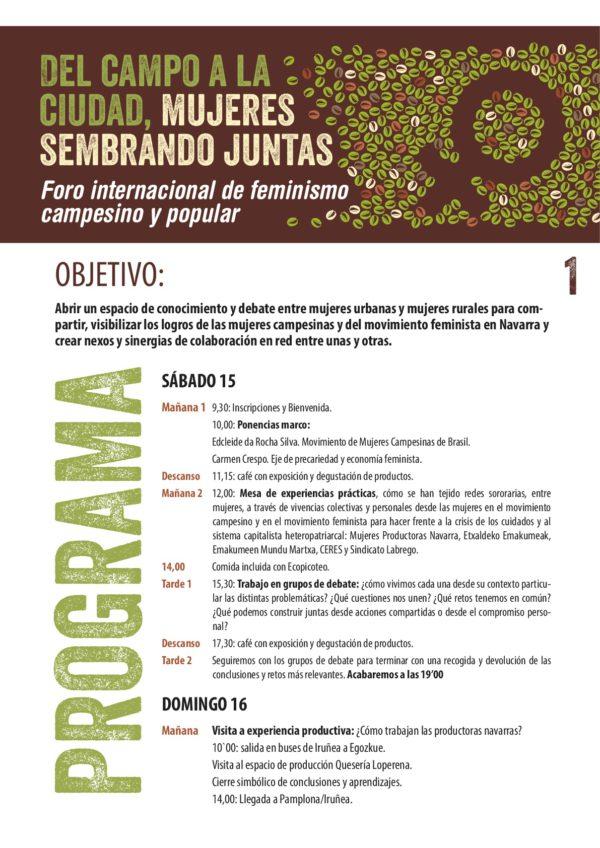 Foro internacional de Feminismo Campesino y Popular: En el campo y y en la ciudad, Mujeres sembrando juntas