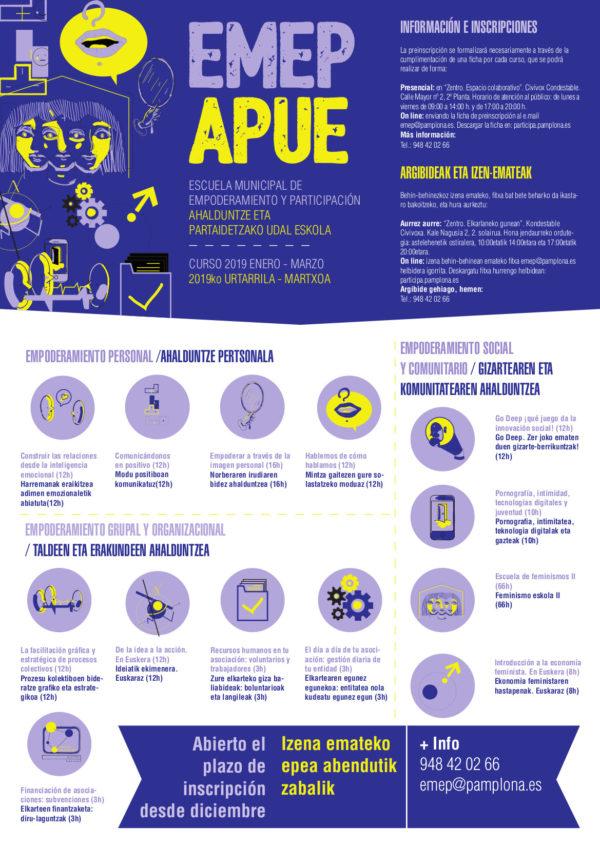 Cursos de la Escuela de Empoderamiento y Participación (Ayuntamiento de Pamplona_ ZENTRO)