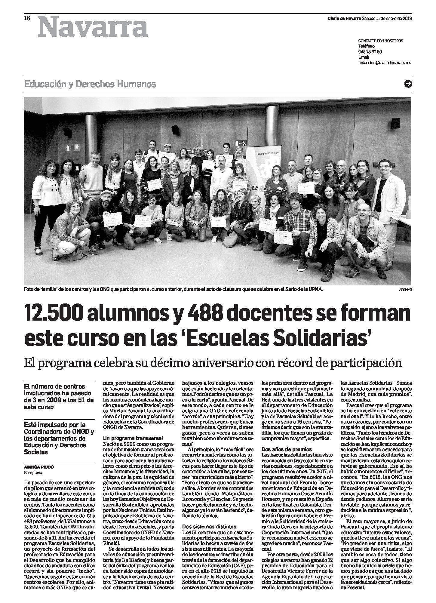 10 años de Escuelas Solidarias en Diario de Navarra