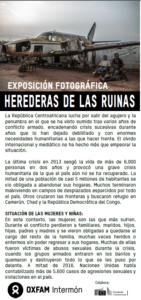 """Exposición fotográfica """"Herederas de las Ruinas"""""""