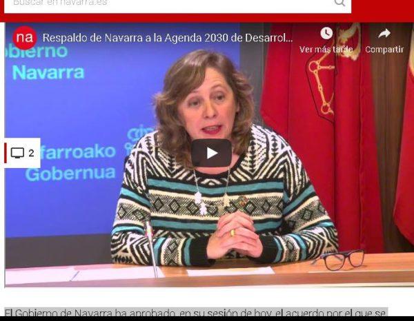 El Gobierno confirma el respaldo de Navarra a la Agenda 2030 de Desarrollo Sostenible de las Naciones Unidas