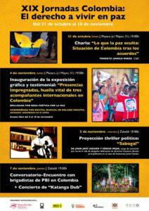 """XIX Jornadas Colombia: El derecho a vivir en paz"""" / """"Kolonbiako XIX Jardunaldiak: Bakean bizitzeko eskubidea"""" (21 octubre al 18 Noviembre)"""