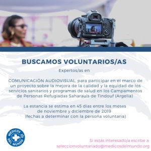 Médicos del Mundo busca Experto/a en Comunicación Audiovisual (Tinduf)