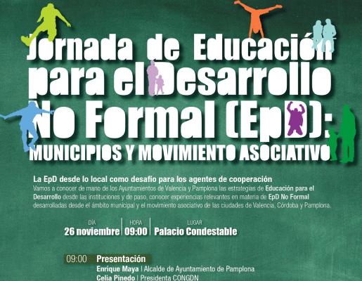 Anímate a participar en la Jornada de Educación para el Desarrollo no formal que organiza la Coordinadora y el Ayto de Pamplona