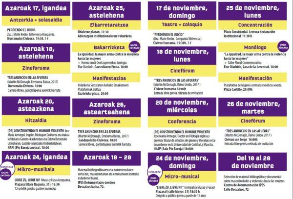 Programación Municipal con motivo del 25 Noviembre