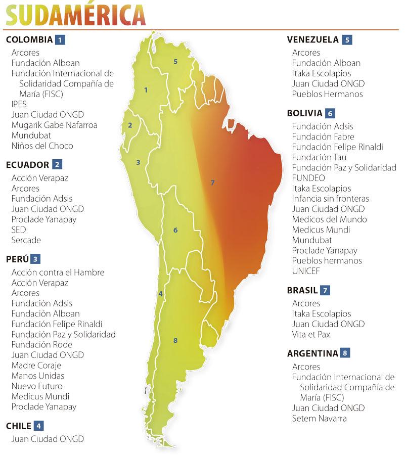 Mapa de las ONGD en Sudamérica