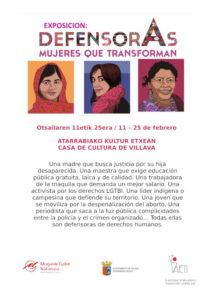 """Exposición: """"Defensoras. Mujeres que transforman"""" @ Casa de Cultura de Villava"""